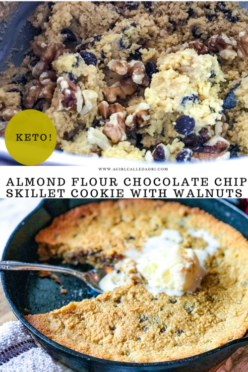 An indulgent and decadent treat, this chocolate chip skillet cookie with walnuts is perfect for the entire family. It's made with almond flour and sugar alternatives, making it low-carb and keto friendly. Serve with a scoop of your favorite sugar-free (or regular) ice cream! It's a delicious dessert that will leave you craving more.
