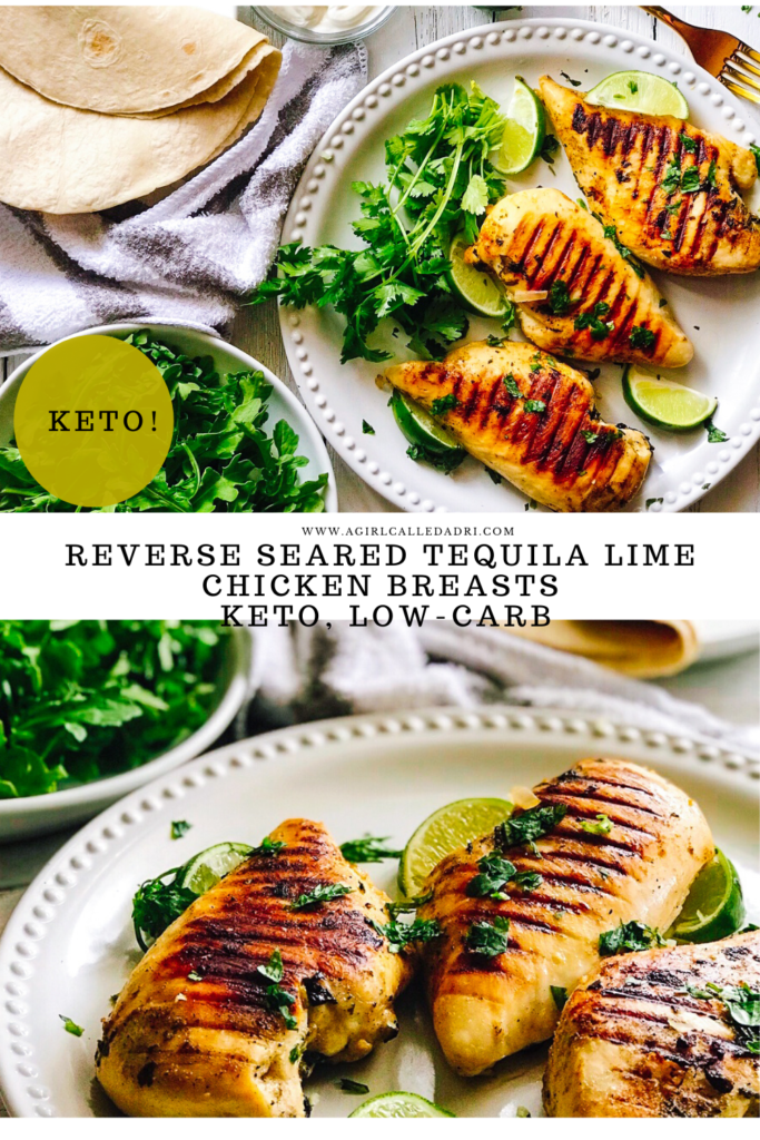 Simple, tender, and bursting with bold flavor these reverse seared tequila lime chicken breasts are a sure-fire hit! You start them in the gentle heat of the oven, then finish them in a scorching hot cast iron skillet for a beautiful crust.