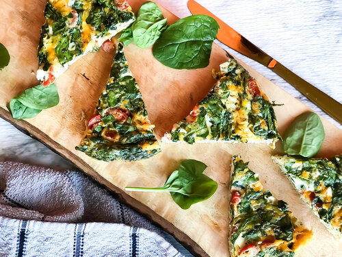 Spinach, Tomato, and Cheddar Frittata | Keto, Low-Carb