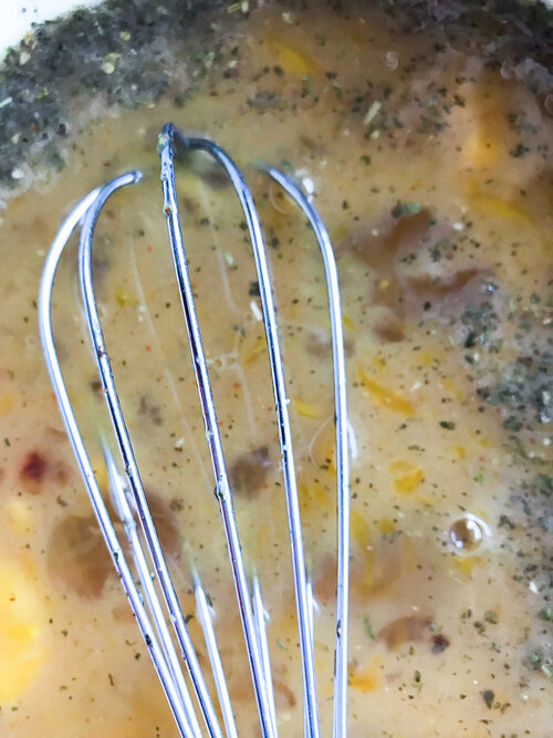 whisked eggs in bowl