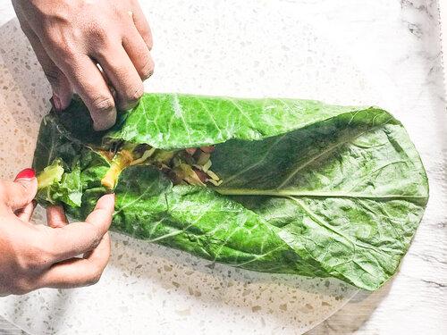 Rolling my spicy collard green wrap | keto & vegan