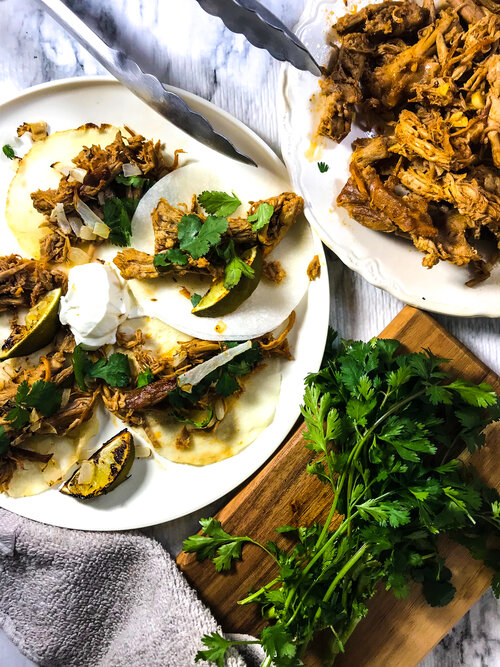 Jicama Tortilla Tacos with Slow Cooker Pork Carnitas | Keto, Low-Carb