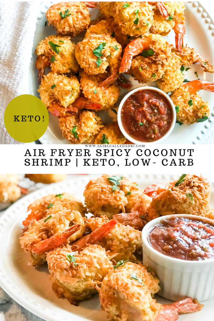 Crisp and crunchy on the outside, tender and flavorful on the inside, these spicy air fried coconut shrimp are a surefire hit! They cook up in about ten minutes and pair well with a myriad of dipping sauces. To top it off, they're low-carb and keto-friendly.