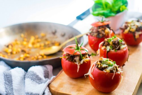 Spicy Stuffed Tomatoes | Keto, Low-Carb