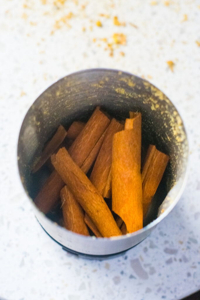 Cinnamon Sticks in Spice Grinder