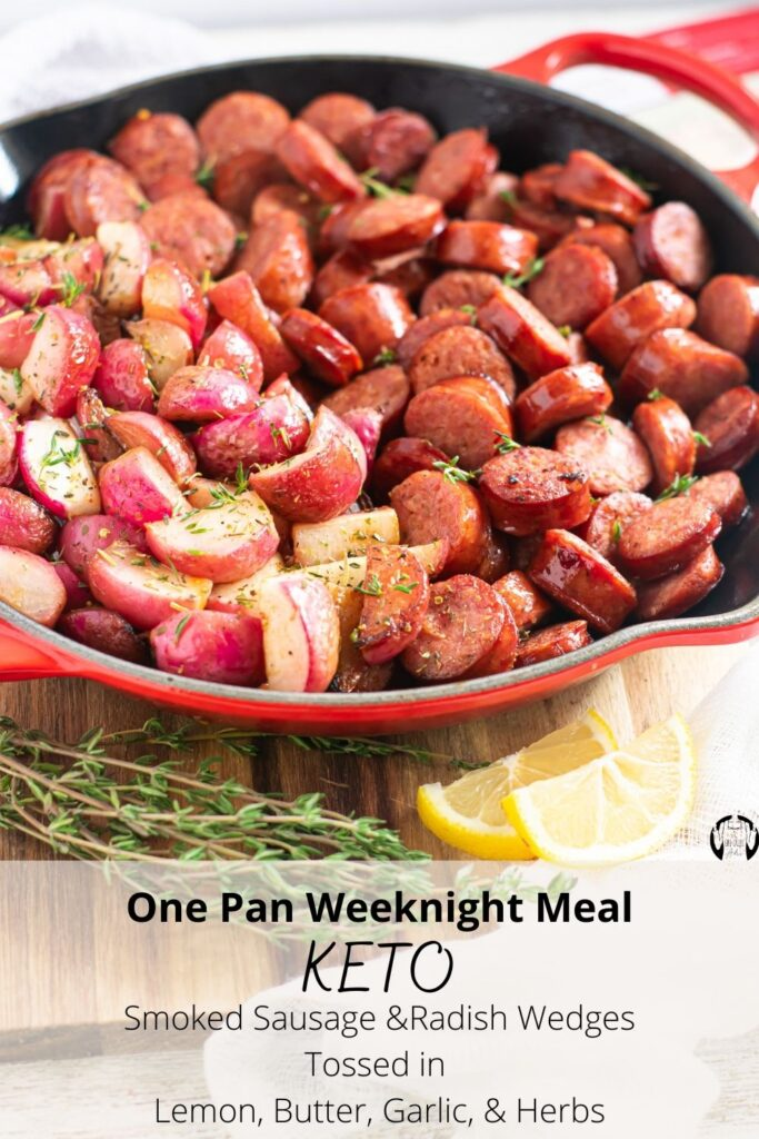 Quick, easy, and extremely flavorful, this keto-friendly one pan meal will satisfy the entire family. Delicious, high quality, Certified Akaushi Beef & Pork Smoked Sausage is combined with tender radish wedges and tossed in lemon, onion, garlic, and herbs. It's hearty, satisfying, and on the table in less than 30 minutes. Try it out today.