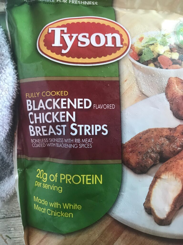 Bag of Fully Cooked Tyson Blackened Chicken Breast Strips