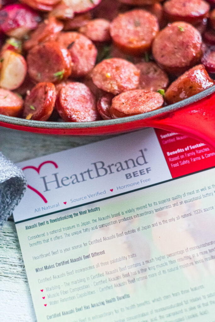 close up of heartbrand beef smoked sausage