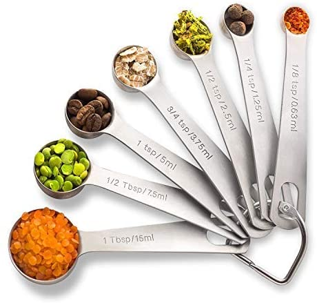PALADA Stainless Set of 7-Small Tablespoon to 1/8 Metal Teaspoon Set Mini measuring spoons, Medium, Steel
