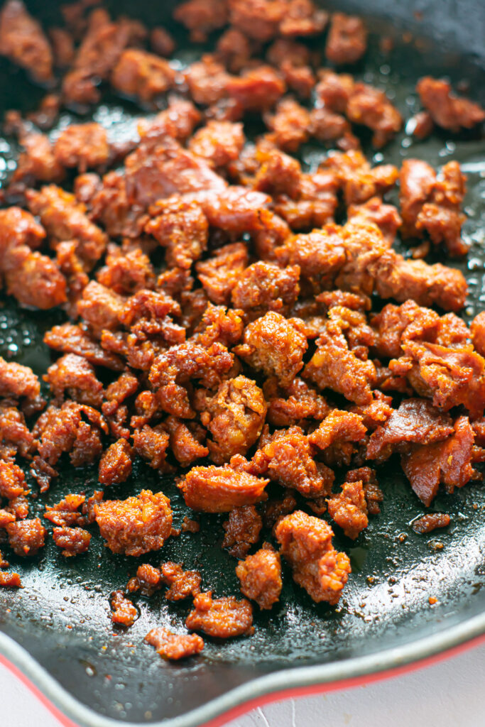 cooked chorizo in skillet