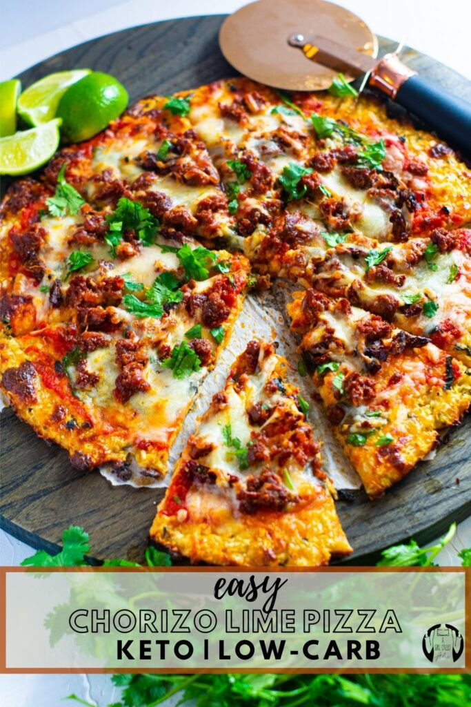 Savory, delicious chorizo, shredded Oaxaca style cheese, lime, and fresh cilantro make this low-carb & keto-friendly pizza irresistible. Mix up your pizza night by trying out this fun recipe that strays away from traditional in the most mouth-watering way.
