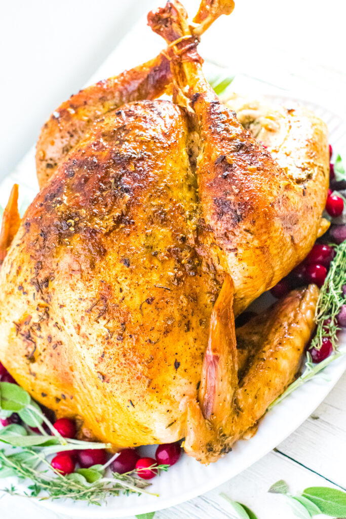 whole turkey on white plate with cranberries, herbs, and lemon wedges.