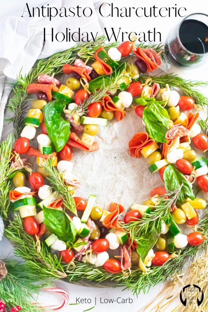 This low-carb, keto-friendly antipasto charcuterie holiday wreath is a quick, tasty, and visually stunning crowd pleaser. It's perfect for holiday gatherings large and small.