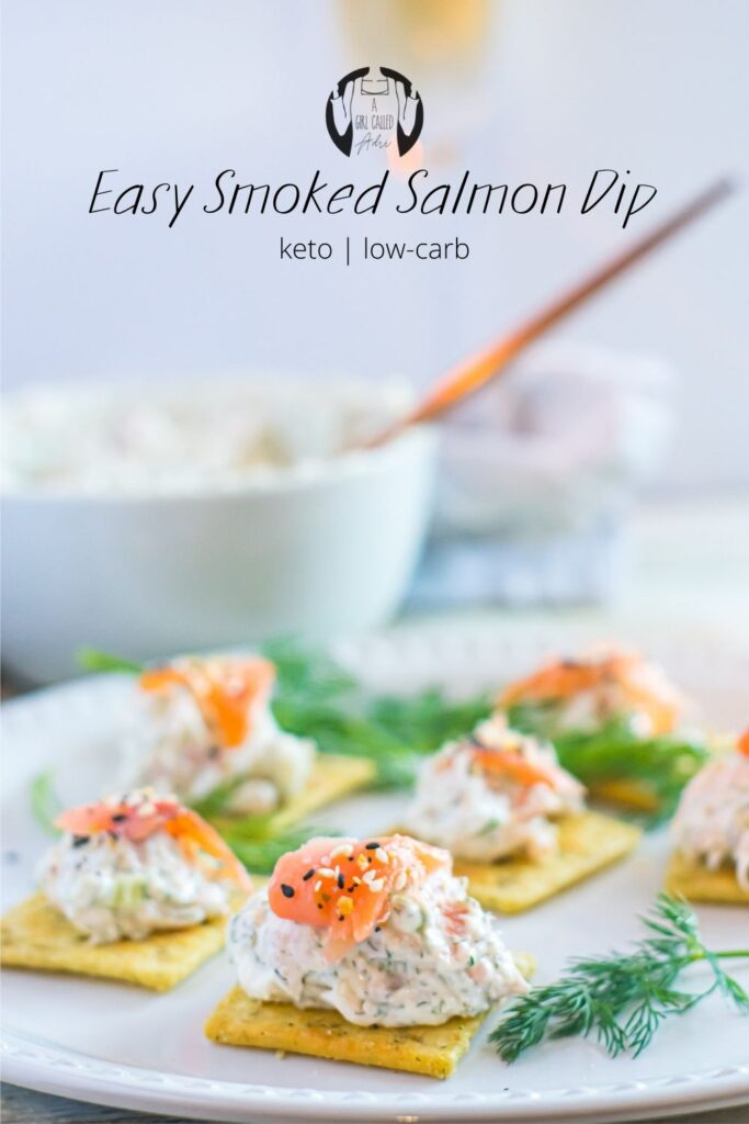 Pinterest Image. This keto-friendly, low-carb smoked salmon dip is delicious, creamy, and seriously addictive. Garlic, shallots, and dill give it a serious punch that you'll love. Perfect appetizer for movie night, parties, and holiday gatherings.