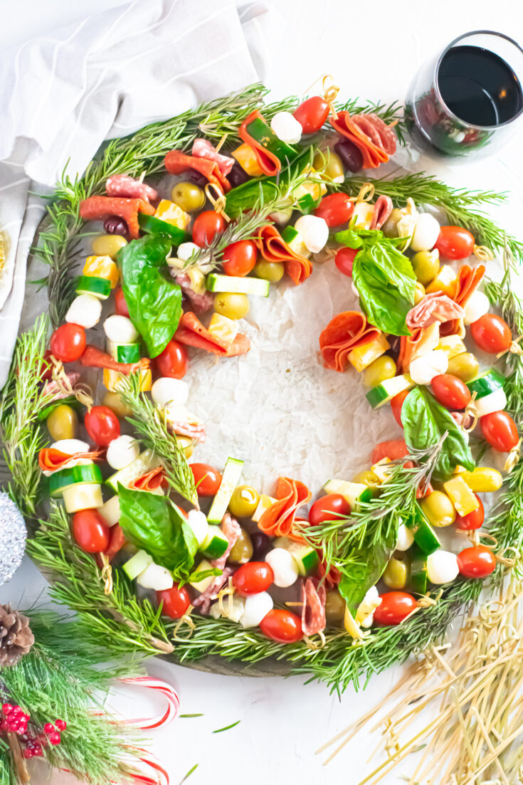 Antipasto Charcuterie Holiday Wreath   Keto, Low-Carb