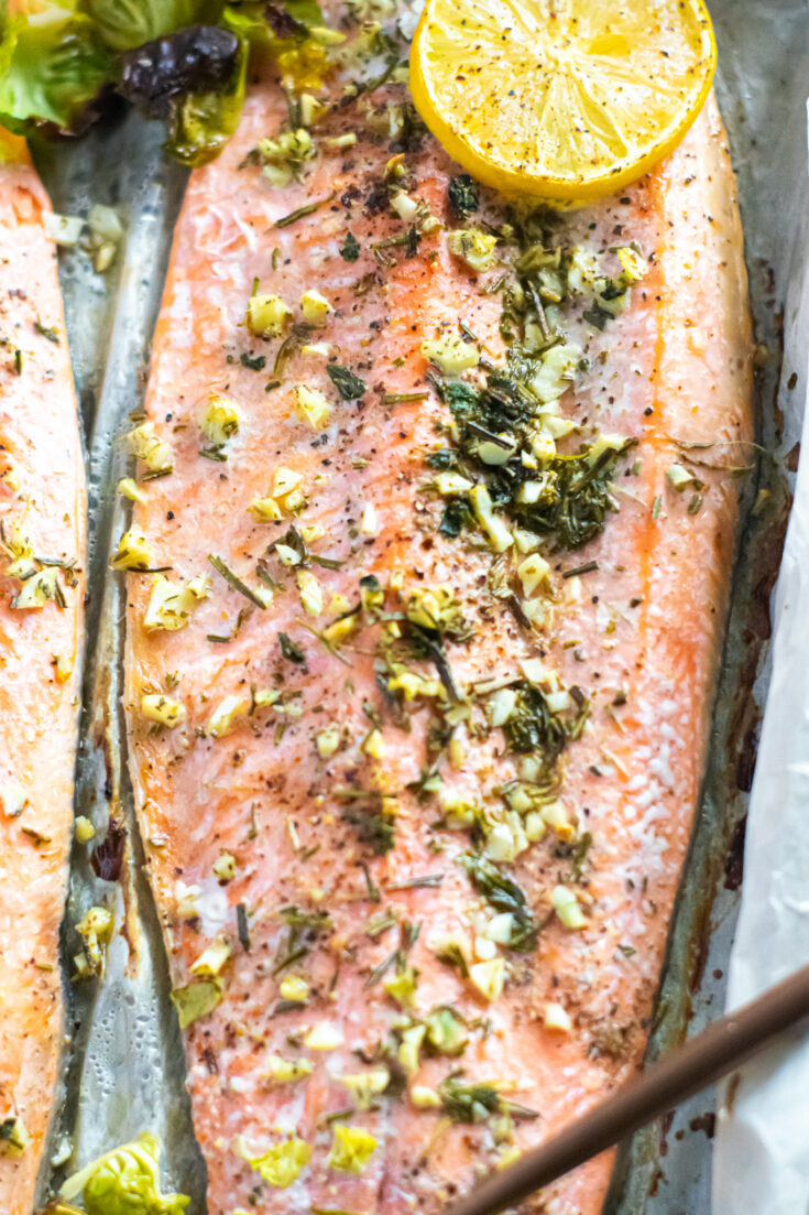 Baked Garlic & Herb Rainbow Trout with Shaved Brussels Sprouts | Keto, Low-Carb