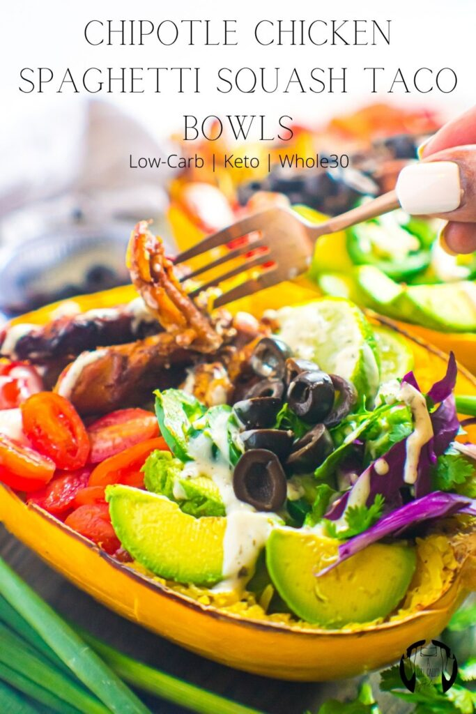 """A """"whole food"""" spin on Taco Tuesday, these chipotle chicken spaghetti squash taco bowls are a surefire hit. They're easy, filling, crowd-pleasing! These bowls are also gluten-free, dairy-free, Whole30 compliant, keto-friendly, and low-carb."""