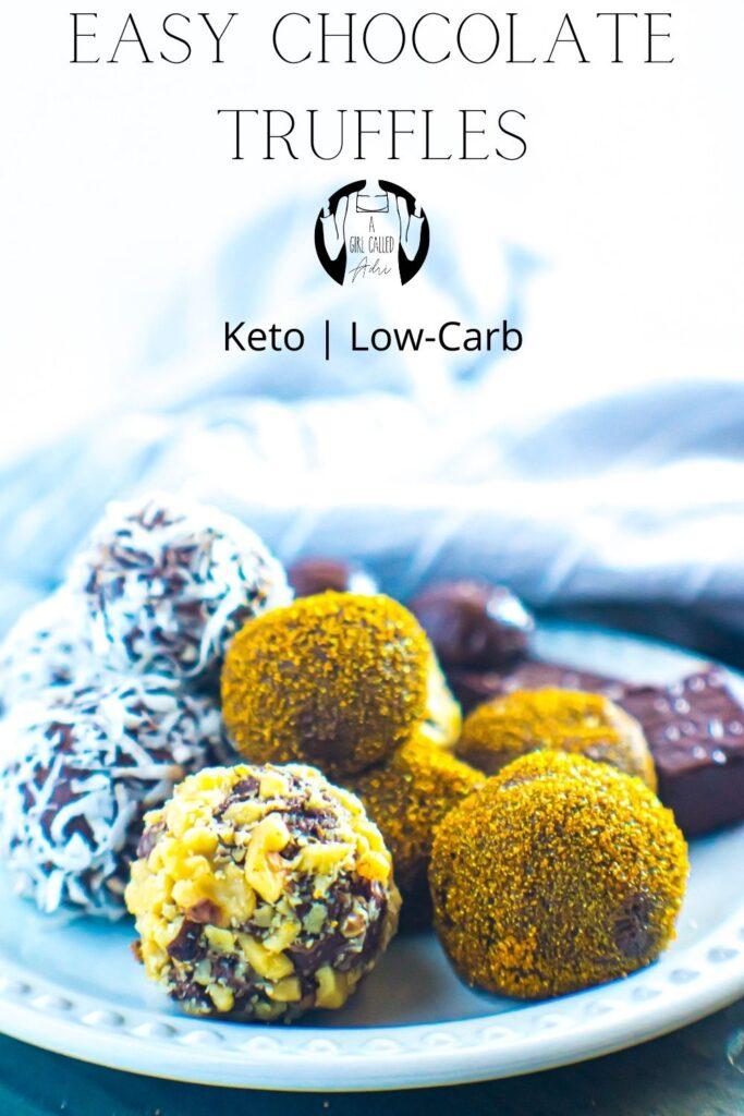 Pinterest image for easy chocolate truffles.