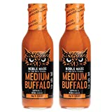 Noble Made by The New Primal, Medium Buffalo Dipping & Wing Sauce, Whole30 Approved, Paleo, Keto, Vegan, Gluten and Dairy Free, Sugar and Soy Free, Low Carb and Calorie, 12 Oz Glass Bottle (2 Count)