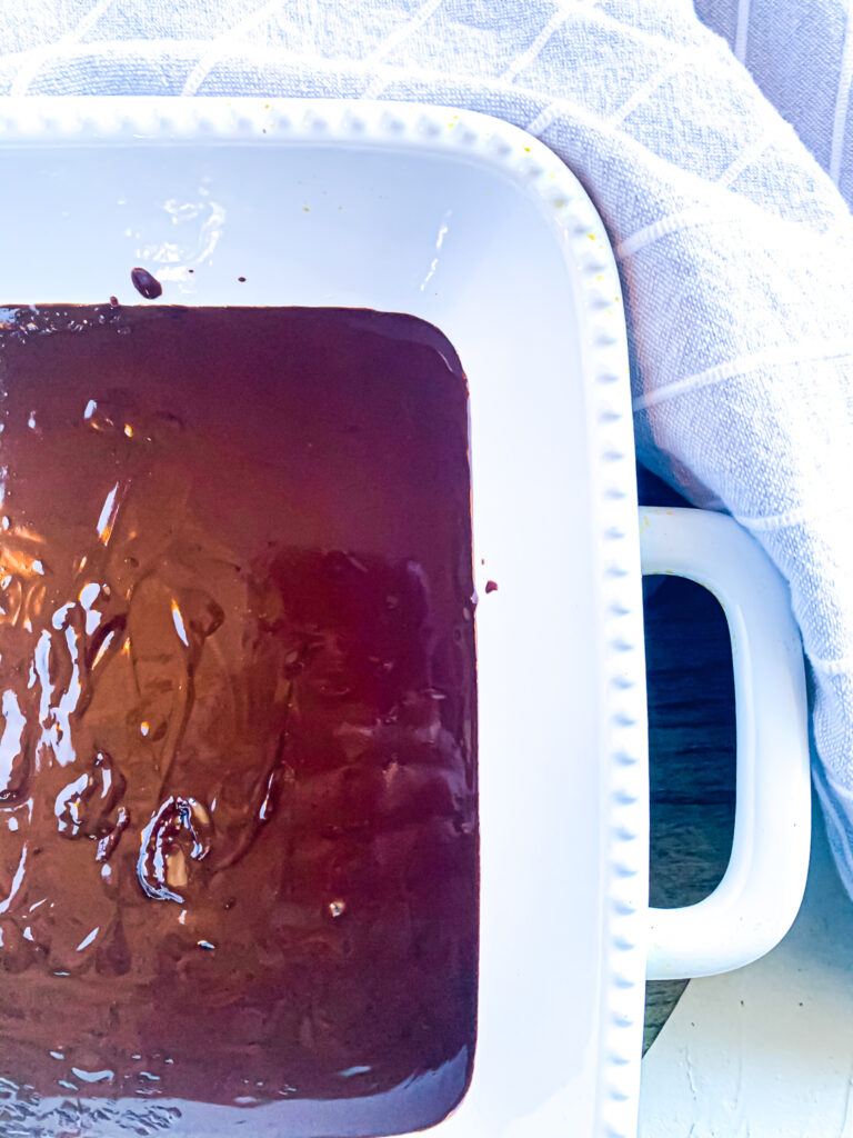 Melted Chocolate in Baking Dish.