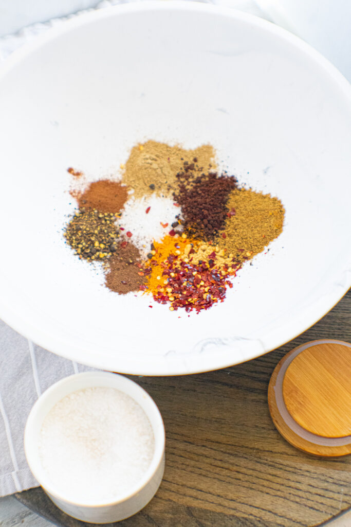 Spices in a white bowl.