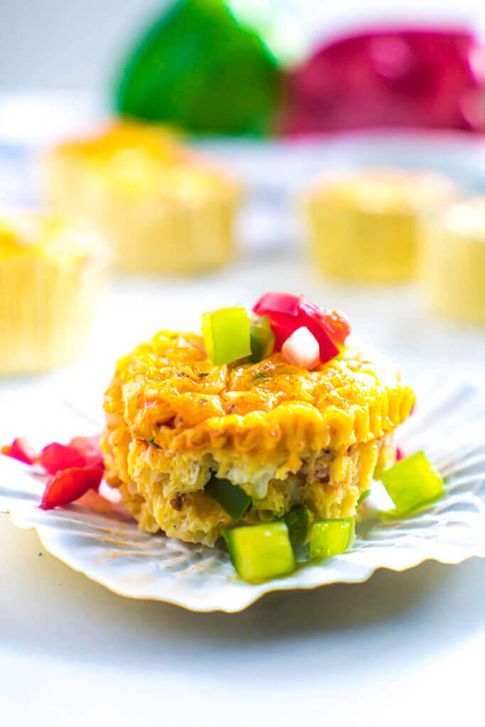 Denver omelet muffin in baking cup.