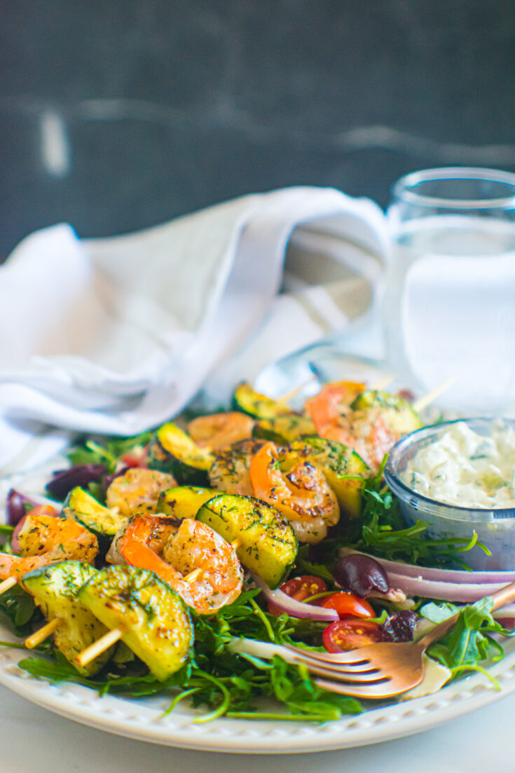 Shrimp & Zucchini Kebabs - Zoe's Kitchen Inspired | Keto, Low-Carb