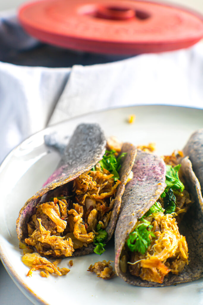 Tacos made with blue corn tortillas