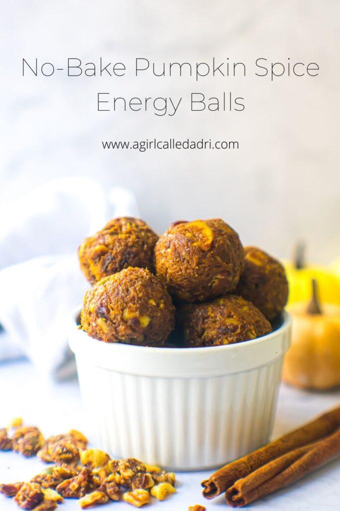 Pinterest image for no-bake pumpkin spice energy balls.