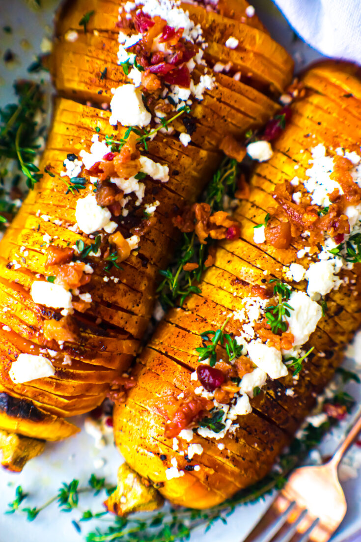Loaded Hasselback Butternut Squash with Goat Cheese & Thyme